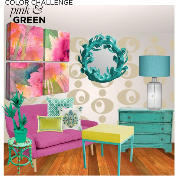 """""""Color challenge pink and green"""" by czarabella on Polyvore"""