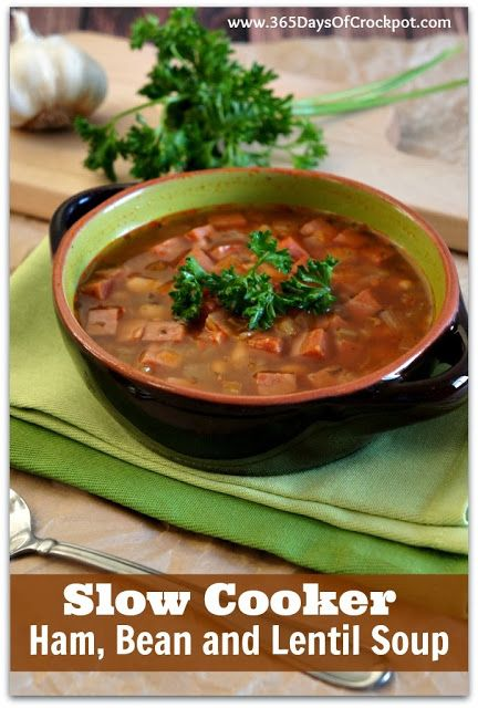 Slow Cooker Ham, Bean and Lentil Soup #soup #crockpot #ham #slowcooker