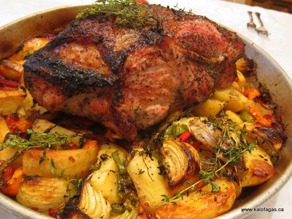 Roast Pork With Sage, Honey & Thyme - Kalofagas - Greek Food & Beyond...