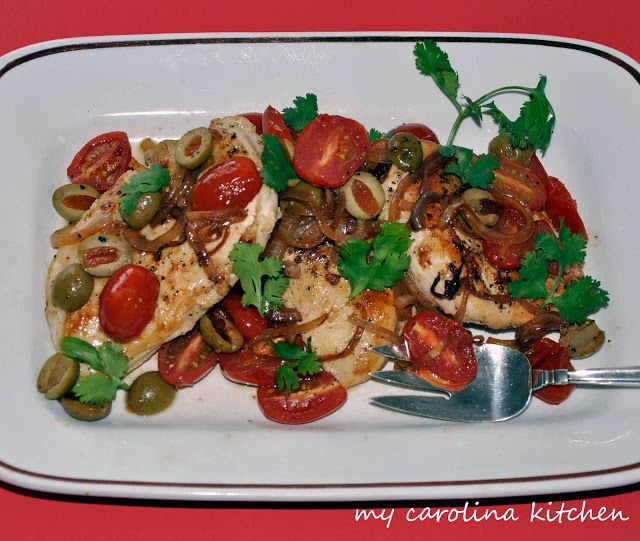Chicken, Tomatoes,Green Olives And Cilantro