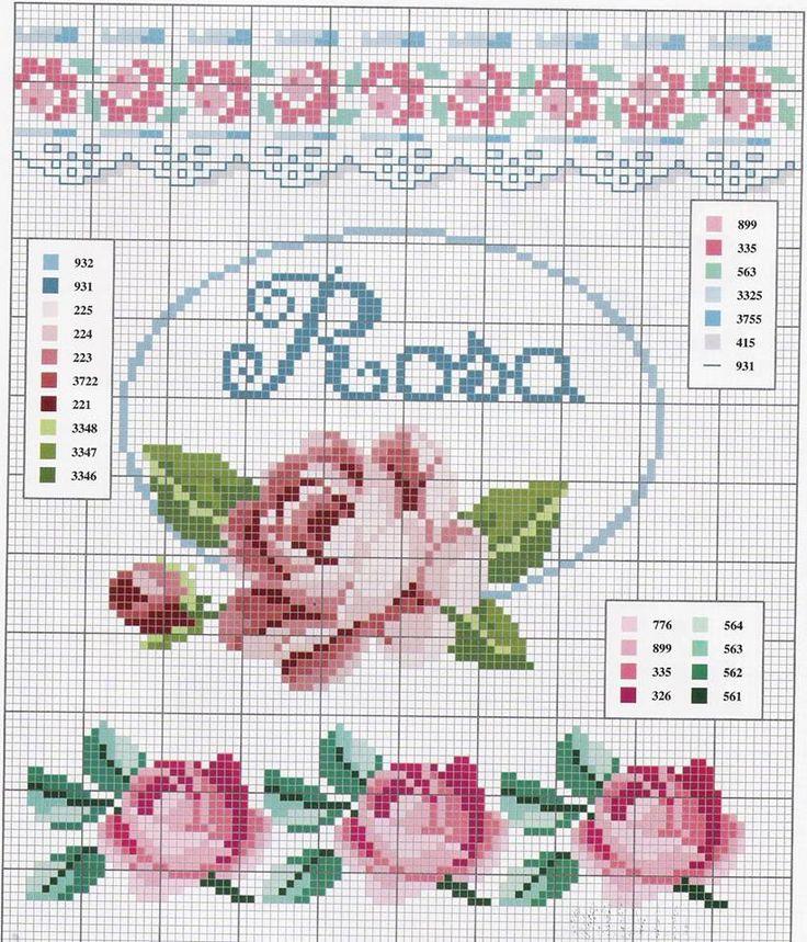 Вышивка крестом схемы с розами 190