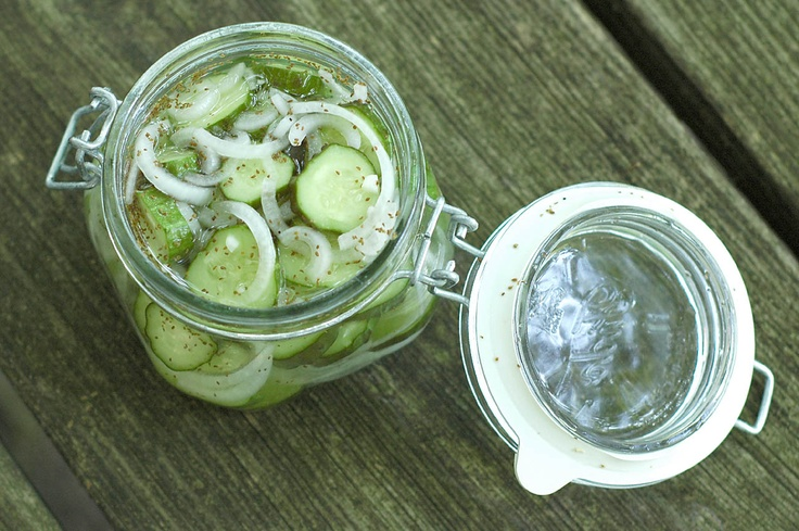 Refrigerator Pickles with cucumbers from the garden!