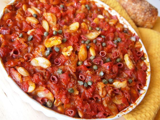 ... Greek To Me: Baked Butter Beans with salami and capers - Gigantes