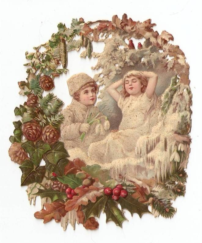 Victorian Die Cut Snow Girls Christmas Holly Scrap