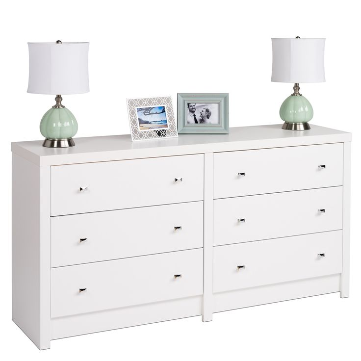 white laminate with diamond cut chrome knobs this chest offers six