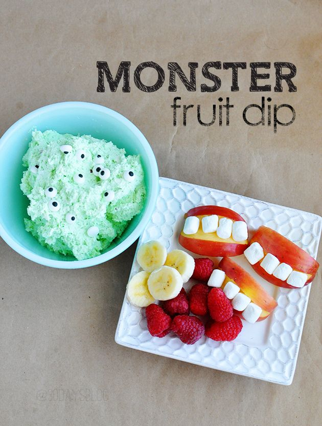 Monster Fruit Dip- fun kids snack that's perfect for Halloween from www.thirtyhandmadedays.com So So cute!!