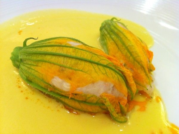 Squash blossom with white shrimp mousse and summer corn soup from ...