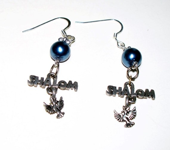 Jewish Earrings Shalom Peace Dove Blue Pearl Silver by lindab142, $12 ...