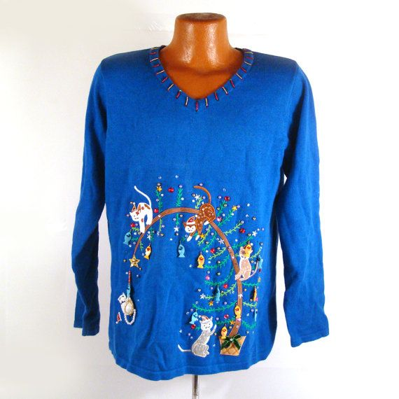 Ugly christmas sweater vintage cats dangling fish tacky m for Fishing ugly christmas sweater