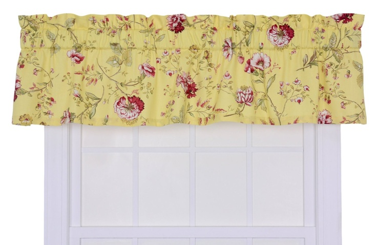 coventry medium scale floral tailored valance yellow home kitchen