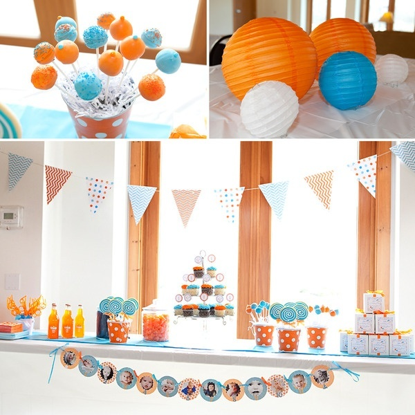 orange and blue themed party children 39 s birthday parties pinterest