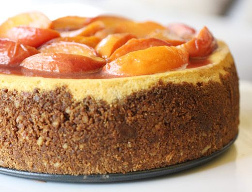 Bourbon-Roasted Peach Cheesecake - Watch That Plate!