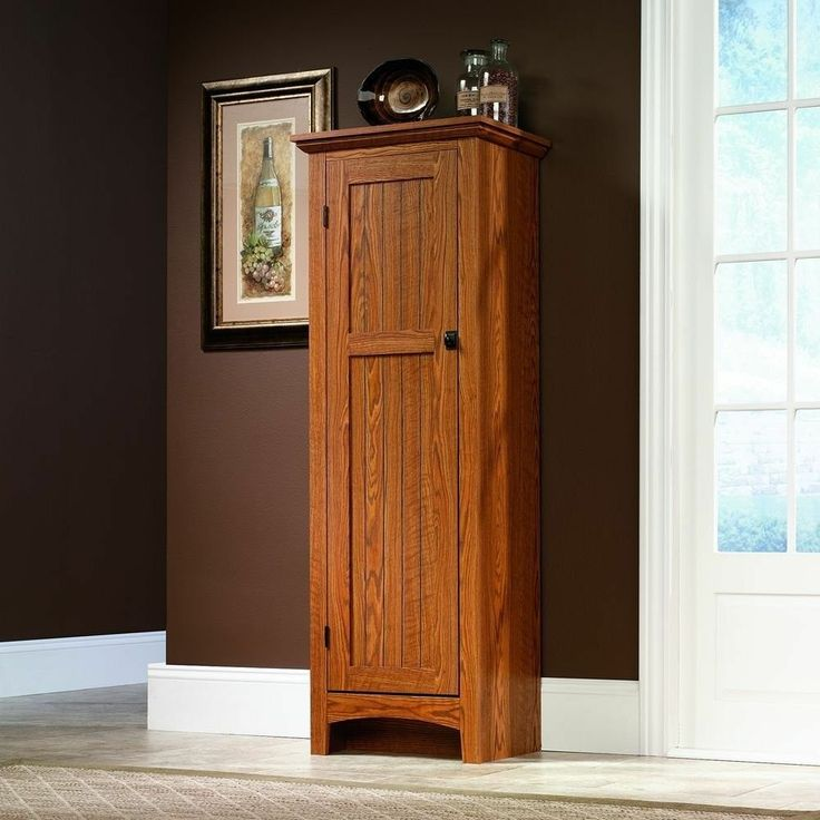 Sauder Oak Kitchen Food Pantry Wood Cabinet Cupboard