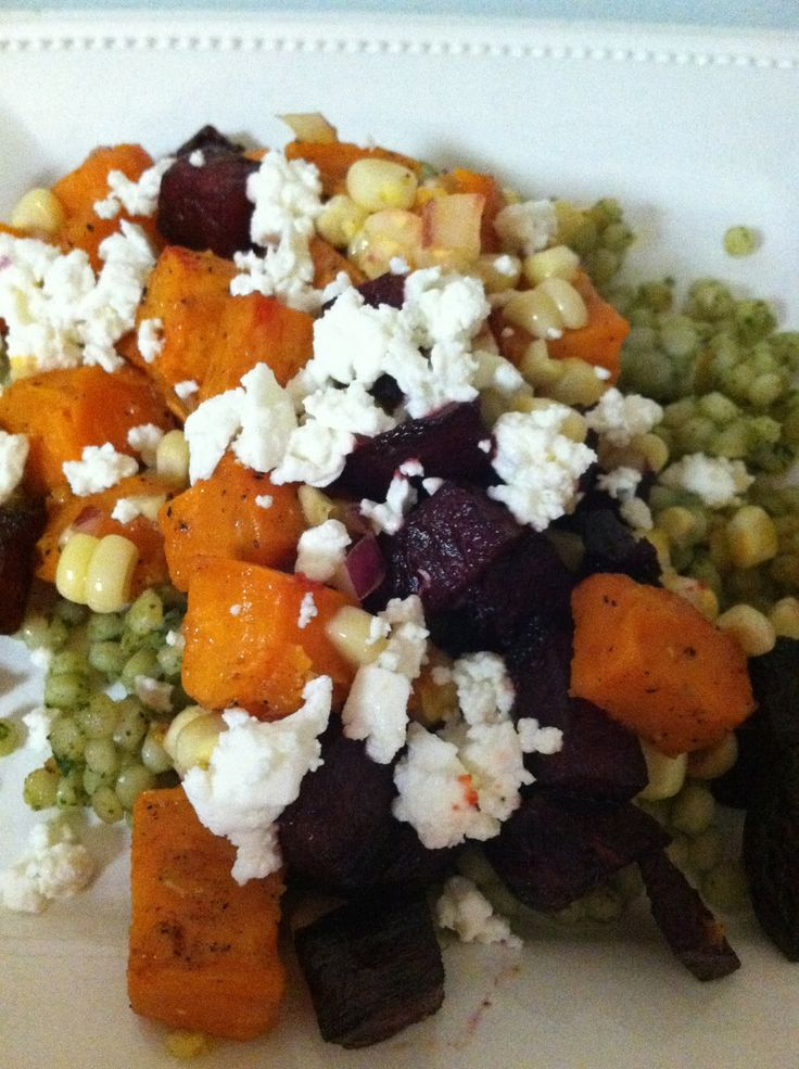 Roasted Sweet Potato, Beet and Corn Salad + Israeli Couscous