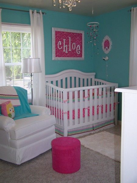 pink and turquoise - I like the pink name on the wall too.