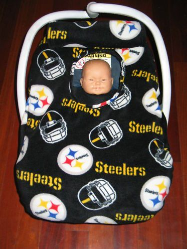 pittsburgh steelers fleece baby car seat carrier cover new with. Black Bedroom Furniture Sets. Home Design Ideas