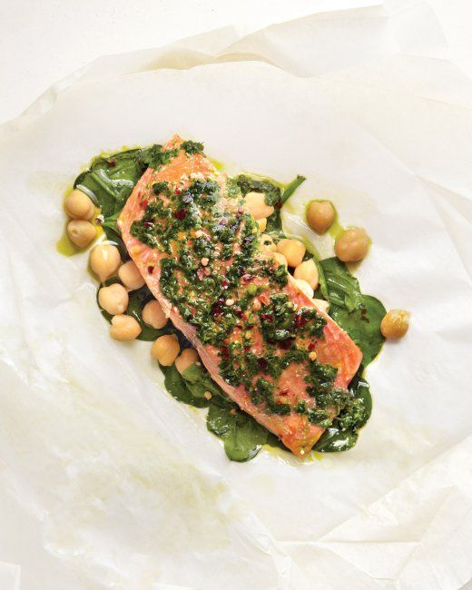 Salmon with Spinach and Chickpeas (click picture for recipe details)