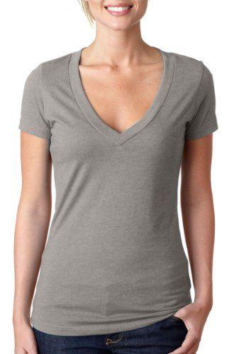 Next Level Women's Short Sleeve Deep V-Neck T-Shirt, Stone Grey, Small ...