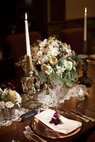 Burgundy and gold wedding centerpiece
