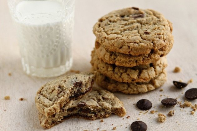 Almond Chocolate Chip Cookies [with toffee bits]