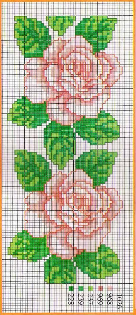 Розовые схемы вышивок крестом 379