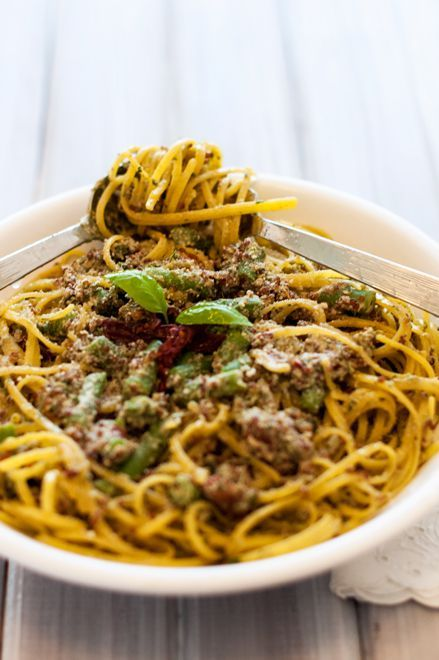 Pesto Pasta with Quinoa, Sundried Tomatoes and Green Beans | Recipe