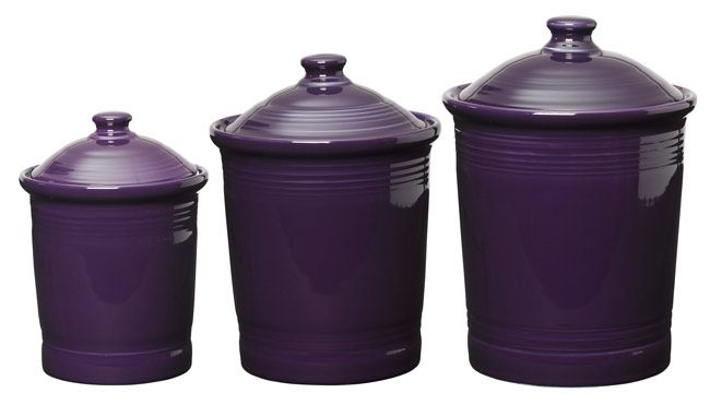 plum fiesta purple kitchen canister set of 3 sizes kitchen canisters tins storage coffee sugar tea utensil