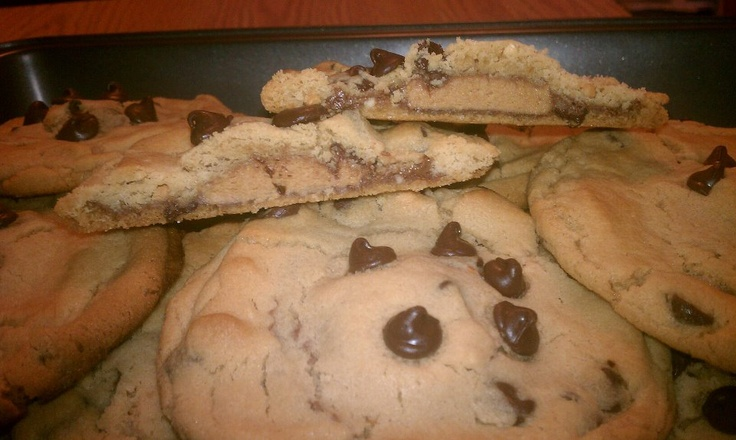 Reese's Stuffed Peanut Butter Chocolate Chip Cookies... what a mouth ...