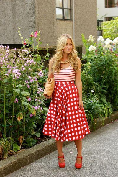 Cara in #red #checkered #Asos #skirt
