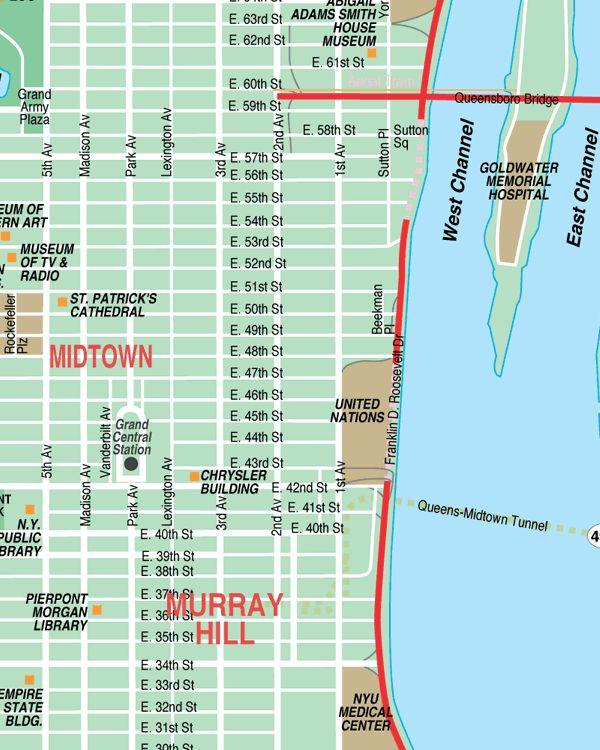 Midtown New York City Streets Map Street Location Maps