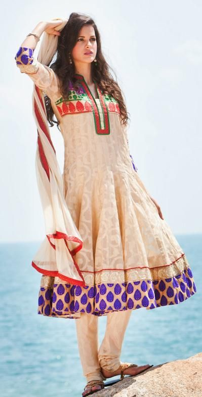129.1 Brown Silk Resham Work Anarkali Suit