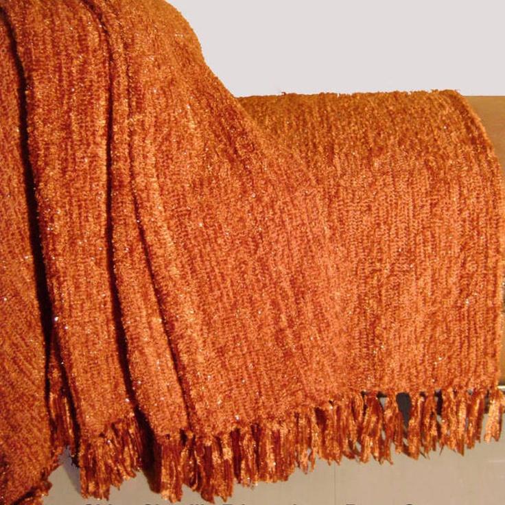 Burnt Orange Duvet Shiny Chenille Throw Burnt Orange