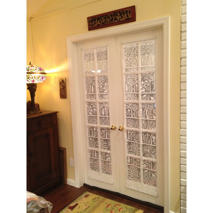 unique flat version of a lace window treatment for her french doors ...