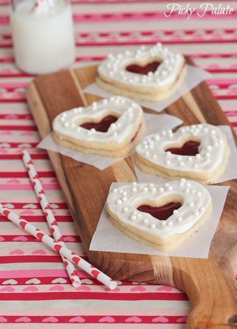 Valentine Shortbread Cookie Sandwiches by Picky Palate