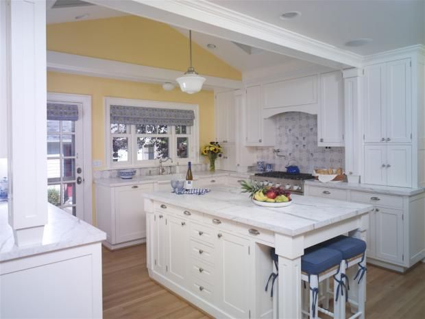Kitchen Cabinets  Traditional Island Style Pale Yellow kitchen, white