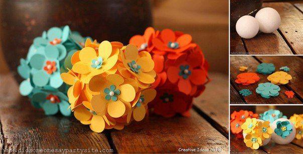 Цветочные шары из цветной бумаги своими руками 3