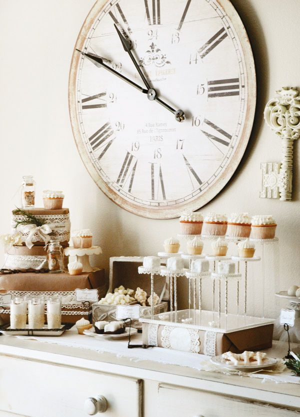 French-Vintage Inspired Dessert Table with clock for New Year's Eve