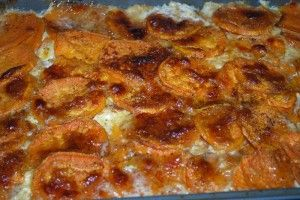 Spicy sweet potato gratin. First they're spicy, then they're sweet.