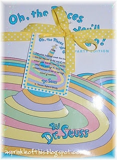 """Love this as a baby shower gift  --- You buy the Dr. Seuss Book """"Oh, the Places You'll Go . . . """" when your child starts kindergarten and at the end of each school year you sneak the book into the teacher and have them write a note in it and sign their name.  Then you can give it to them at their graduation --"""