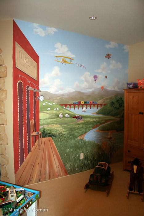 Planes, Trains, & Automobiles part of the mural for kids room