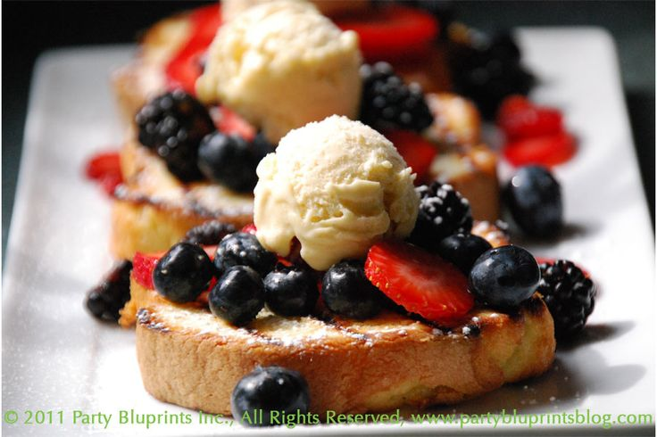 Grilled* Pound Cake with ice cream and fruit. One of my very favorite ...