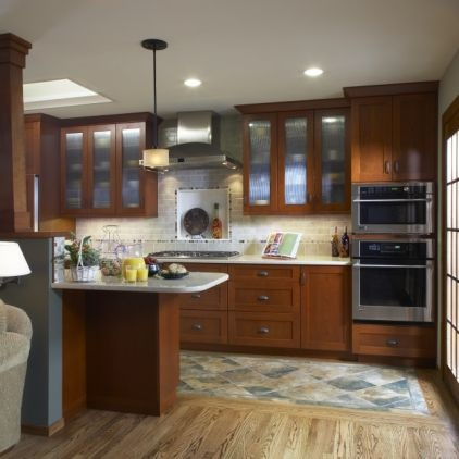 Combo wood and tile flooring in kitchen for the home for Kitchen designs with hardwood floors