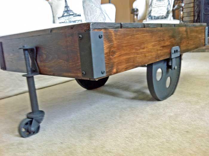 Hometalk DIY Factory Cart Coffee Table