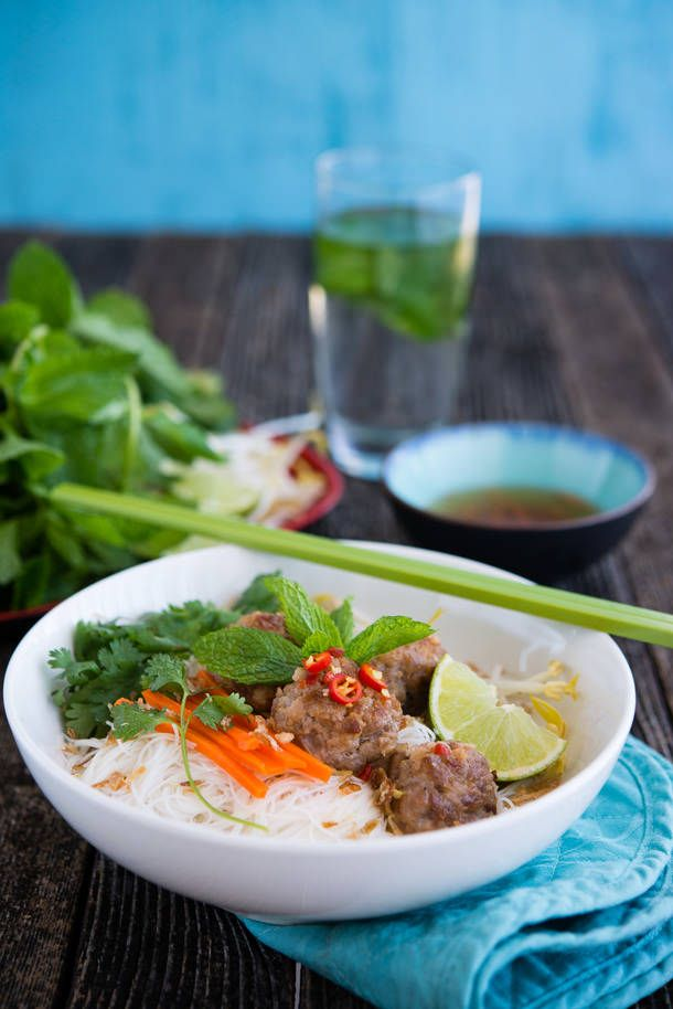 Vietnamese inspired Pork Balls on Rice Vermicelli (The Hungry ...