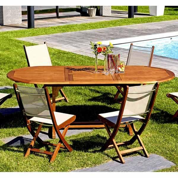 Table De Jardin : Table de jardin modulable Eucalyptus 6-8 places FREDERIK - Maison ...