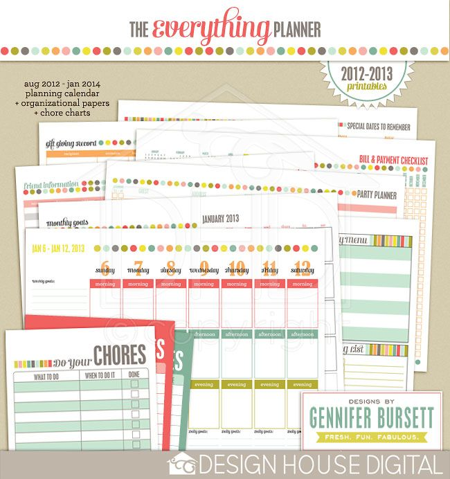 The Everything Planner : 2012-2013 Printables  OMG, I loved last years! So need this again!