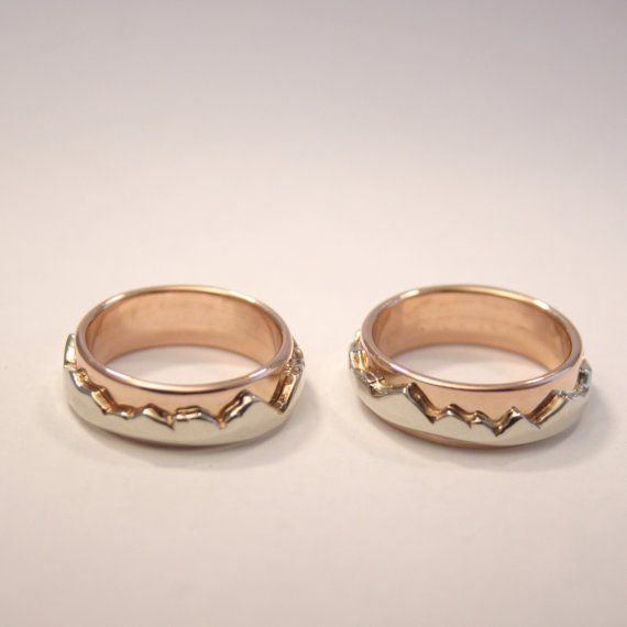 Eternal mountains, Eternal love, men's wedding band, rose and white ...