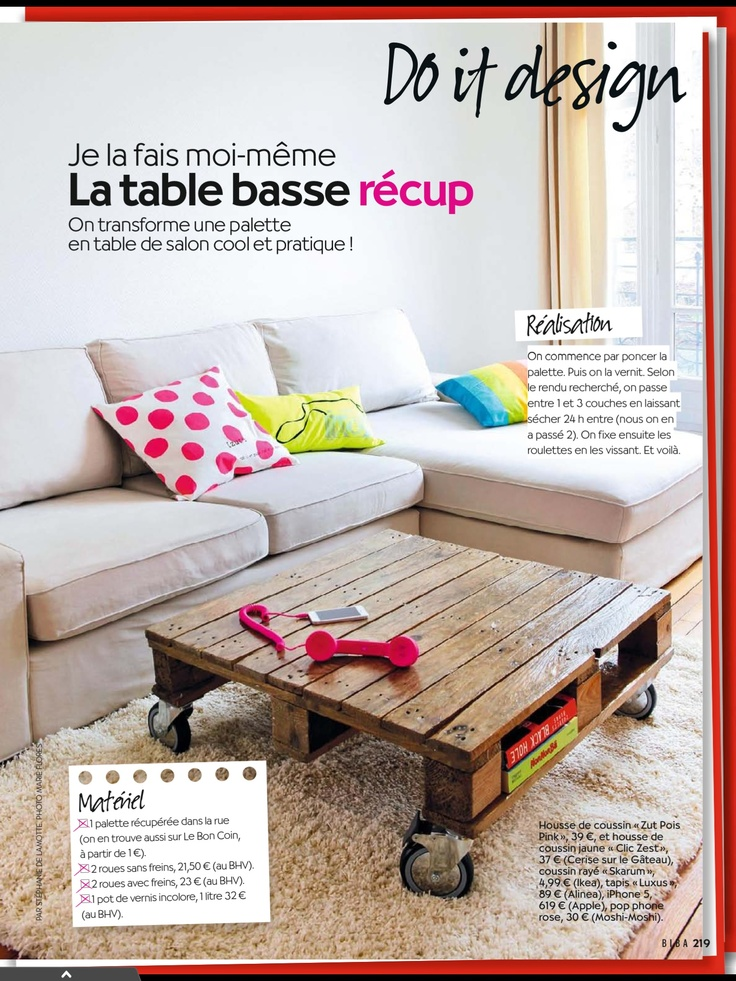 Palette table basse diy diy pinterest for Table basse palette roulette