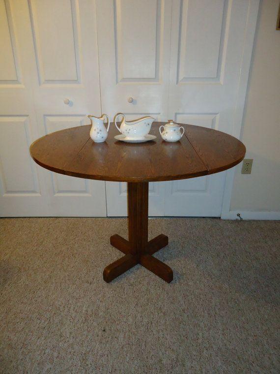 Round Drop Leaf Oak Dining Table Vintage Kitchen Pedestal Base Wood G