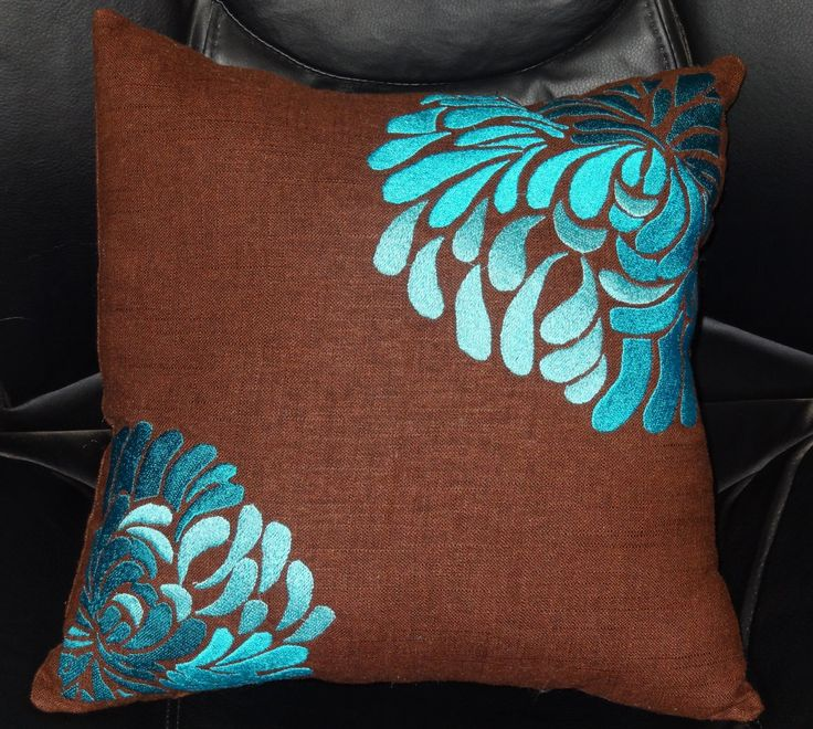 Brown Linen Throw Pillow : Chocolate Brown Linen Throw Pillow 15x15 with 3-color Teal Chrysanthe?